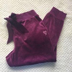New! Crushed Velvet Pant Jogger PJ PANT M